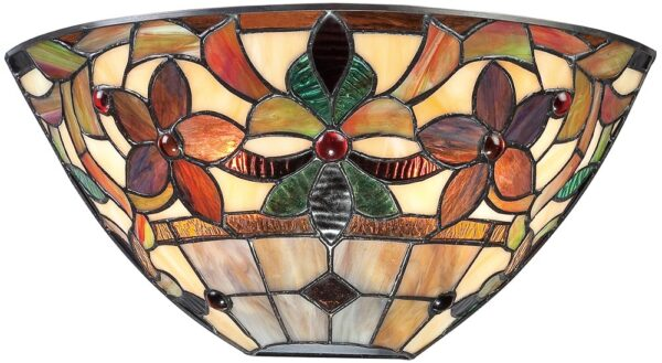 Quoizel Kami Traditional Floral 2 Light Tiffany Wall Lamp