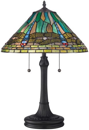 Quoizel King Traditional Design Dragonfly Tiffany Table Lamp