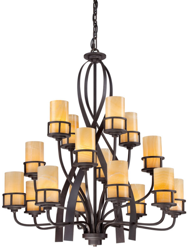 Quoizel Kyle Bronze 16 Light Large Chandelier With Onyx Shades