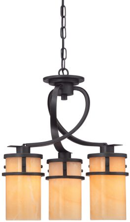 Quoizel Kyle Bronze 3 Light Dinette Chandelier With Onyx Shades