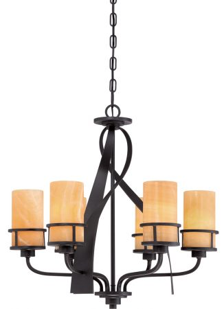 Quoizel Kyle Imperial Bronze 6 Light Chandelier With Onyx Shades