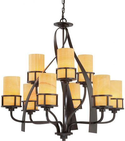 Quoizel Kyle Bronze 9 Light Large Chandelier With Onyx Shades