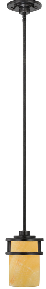 Quoizel Kyle Imperial Bronze 1 Light Mini Pendant With Onyx Shade