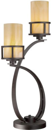 Quoizel Kyle Imperial Bronze 2 Light Table Lamp With Onyx Shades