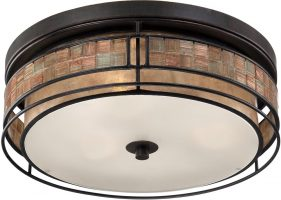 Quoizel Laguna Medium Art Deco Style Flush 3 Light Copper Finish