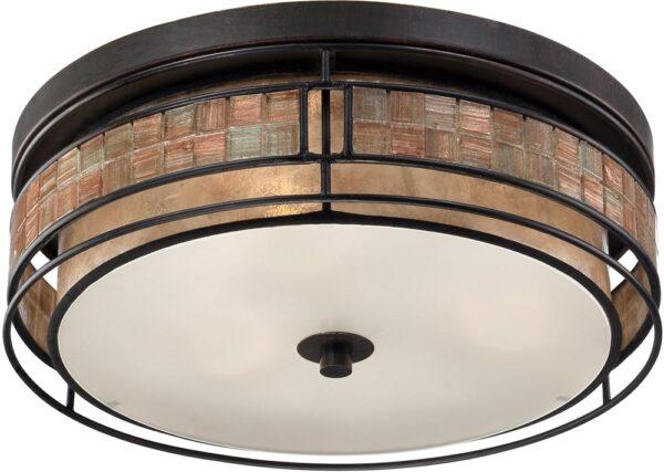 Quoizel Laguna Large Art Deco Style Flush 3 Light Fitting Copper