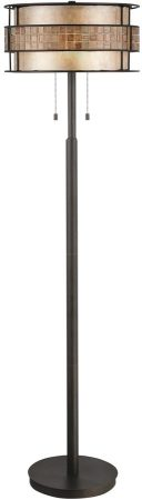 Quoizel Laguna Art Deco Style 2 Lamp Floor Standard Copper Finish