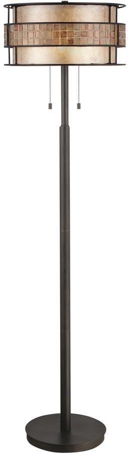 Quoizel Laguna Art Deco Style 2 Lamp Floor Standard Copper Finish