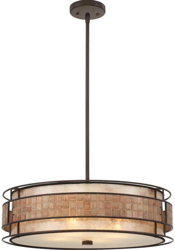 Quoizel Laguna Large Art Deco Style 4 Light Pendant Copper Finish