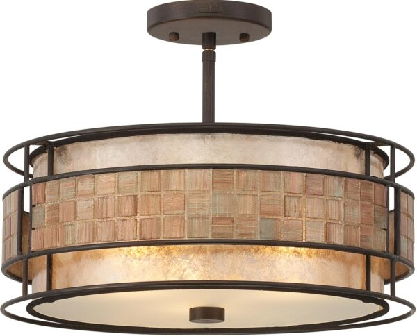 Quoizel Laguna Medium Art Deco Style Semi Flush 3 Light Copper Finish