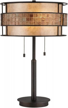 Quoizel Laguna Art Deco Style 2 Light Table Lamp Copper Finish