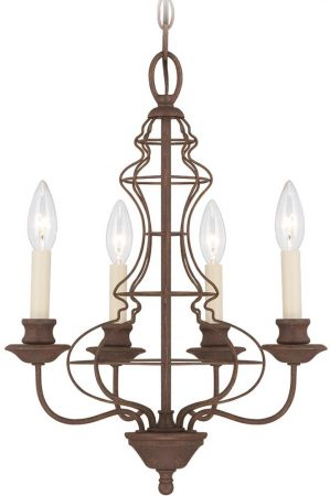 Laila Antique Bronze 4 Light Small Birdcage Chandelier