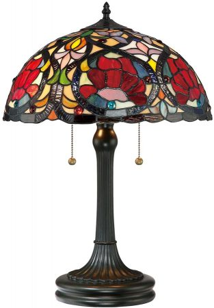 Quoizel Larissa Traditional Floral 2 Light Tiffany Table Lamp