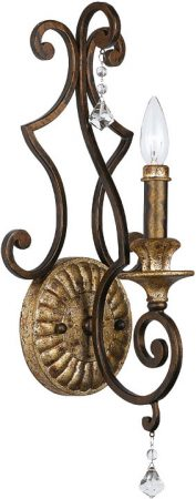 Quoizel Marquette Large Wrought Iron 1 Lamp Wall Light Heirloom