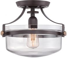 Quoizel Penn Station 1 Light Flush Ceiling Light Western Bronze