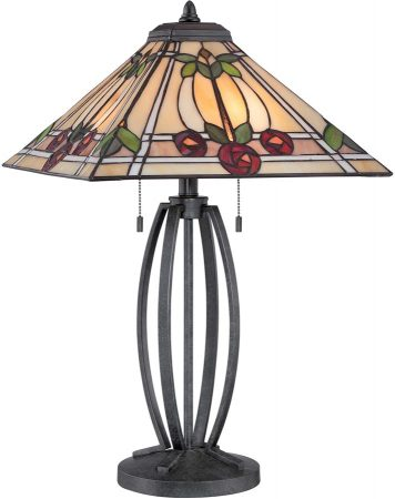 Ruby Mackintosh Rose Design 2 Light Tiffany Table Lamp