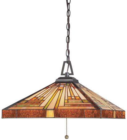 Quoizel Stephen Art Deco Style 3 Light Pyramid Tiffany Pendant