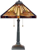Quoizel Stephen Art Deco Style 2 Light Pyramid Tiffany Table Lamp