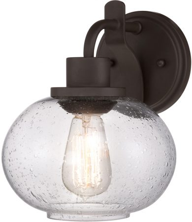 Quoizel Trilogy 1 Lamp Single Wall Light Old Bronze Seeded Glass