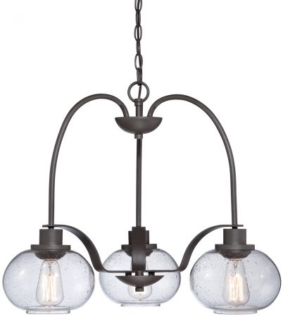 Quoizel Trilogy 3 Light Chandelier Old Bronze Seeded Glass