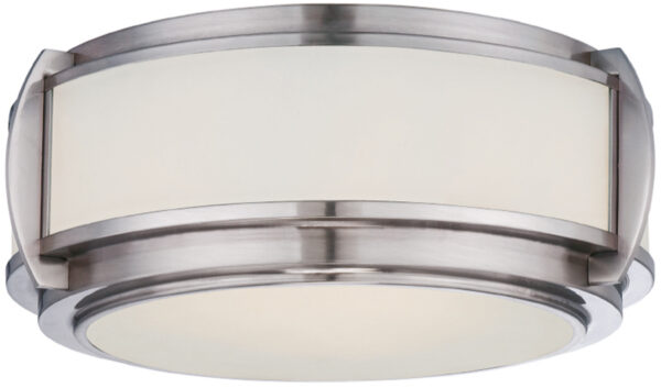Quoizel Wilkinson Brushed Nickel 3 Lamp Art Deco Flush Light