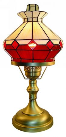 Red Tiffany Imitation Table Oil Lamp