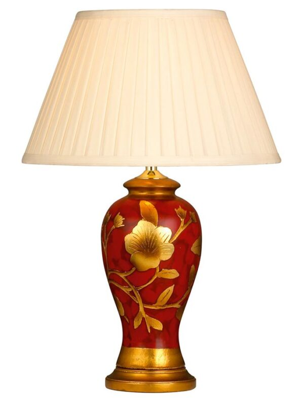Italiano red and gold ceramic table lamp with cream pleat shade