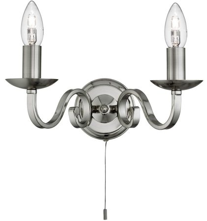 Richmond Traditional Satin Silver Switched Twin Wall Light