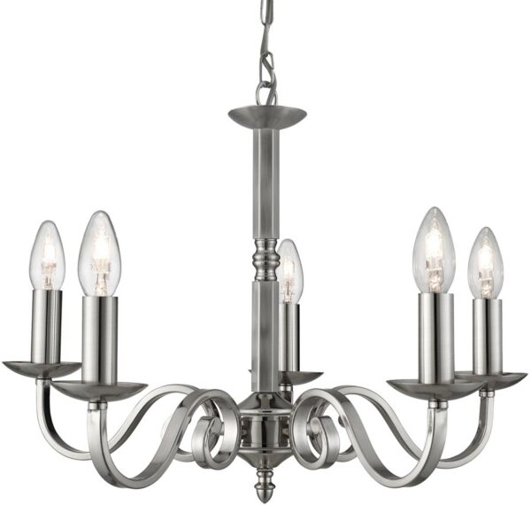 Richmond Traditional Satin Silver 5 Light Dual Mount Chandelier