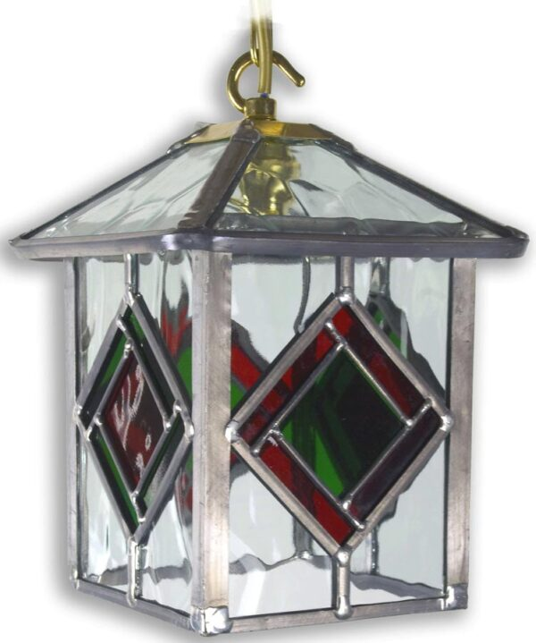 Richmond Olde Worlde Red / Green Leaded Glass Hanging Porch Lantern