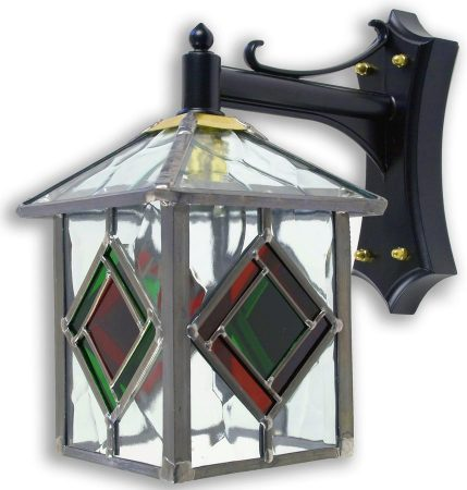 Richmond Olde Worlde Red / Green Leaded Glass Outdoor Wall Lantern