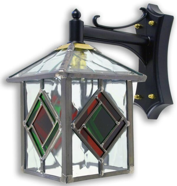 Richmond Olde Worlde Red / Green Leaded Glass Outdoor Wall Lantern