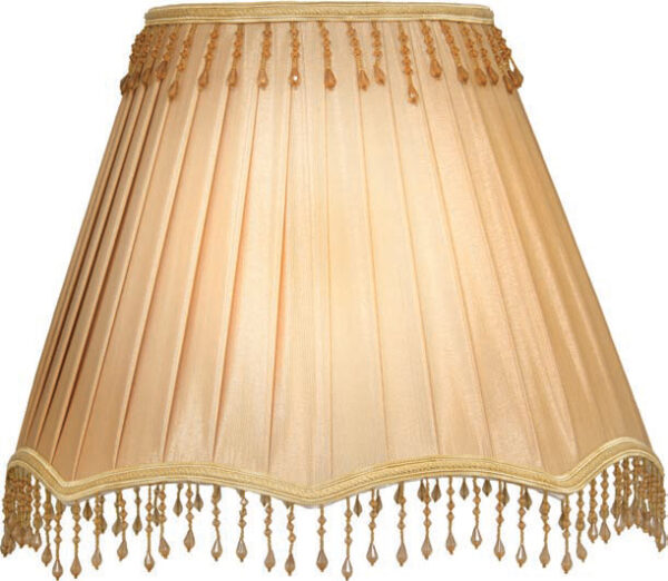 Small Coffee Gold Clip On Lamp Shade With Trim Droplets