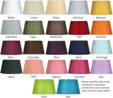 Tapered Cotton Drum 20cm Lamp Shade Choice 22 Colours