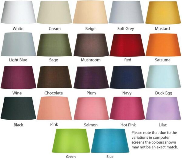 Tapered Cotton Drum 35cm Lamp Shade Choice 22 Colours