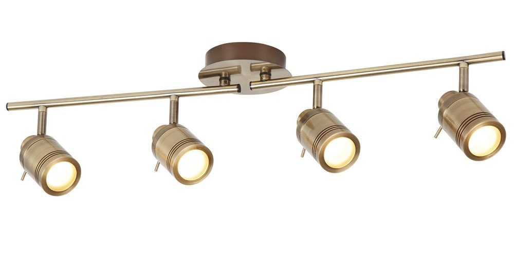 samson 4 light bathroom ceiling spotlight bar antique brass led bulbs