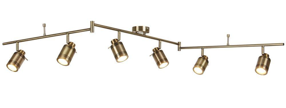 samson 6 light bathroom ceiling spotlight bar antique brass led bulbs
