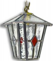 Sandringham Red Diamond Leaded Glass Hanging Outdoor Porch Lantern