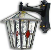 Sandringham Red Diamond Leaded Glass Outdoor Wall Lantern