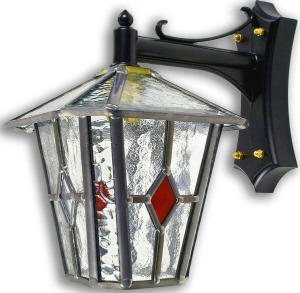 Sandringham Red Diamond Leaded Glass Outdoor Wall Lantern