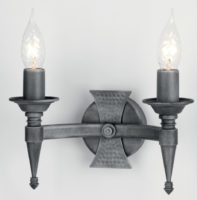 Elstead Saxon Black / Silver Heraldic Wrought Iron Twin Wall Light