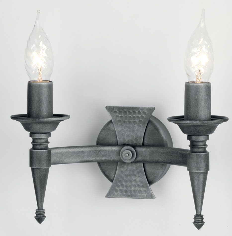Black Wrought Wall Lights : Saxon Black And Silver Heraldic Wrought Iron Twin Wall Light SAX2/BLK/SIL