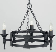 Saxon Matt Black Wrought Iron 3 Light Cartwheel Chandelier