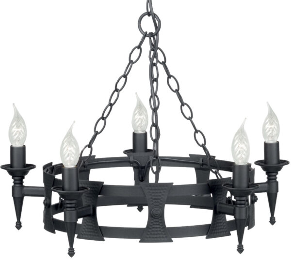 Elstead Saxon Matt Black Wrought Iron 5 Light Cartwheel Chandelier