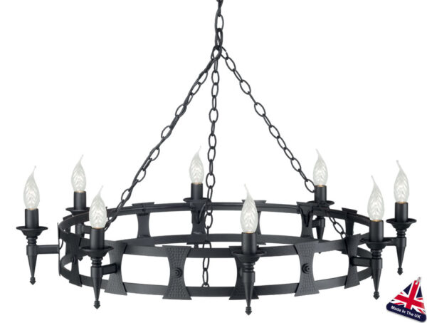 Saxon Matt Black Wrought Iron 8 Light Cartwheel Chandelier