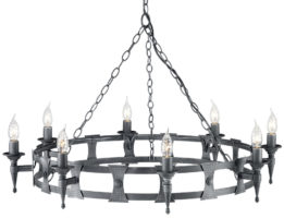 Saxon Black And Silver Wrought Iron 8 Light Cartwheel Chandelier