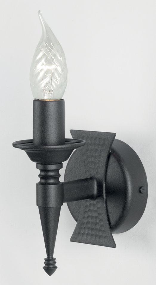 Elstead Saxon Matt Black Heraldic Wrought Iron Single Wall Light