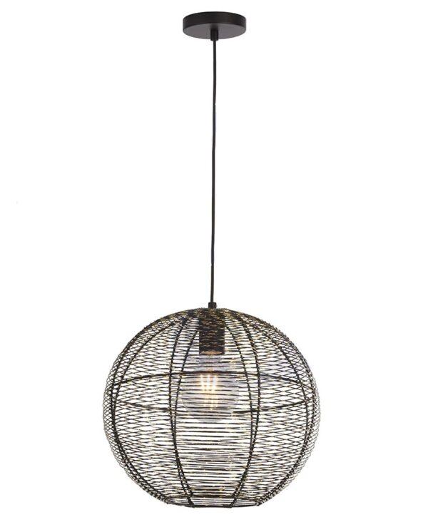 Weave 1 Lamp Wire Globe Pendant Ceiling Light Matt Black & Gold