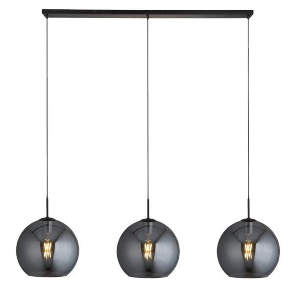 Modern 3 Light 30cm Smoked Glass Globes Ceiling Pendant Bar Black