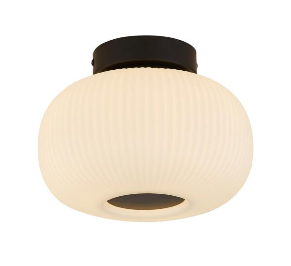 Stylish Black 1 Light Flush Low Ceiling Light Ribbed White Glass Shade